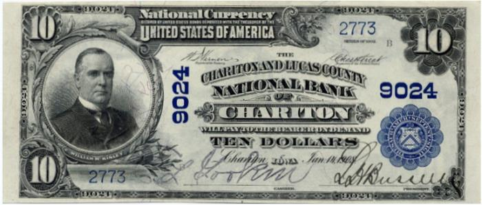 Lucas County National Bank of Chariton National Currency dollar bill