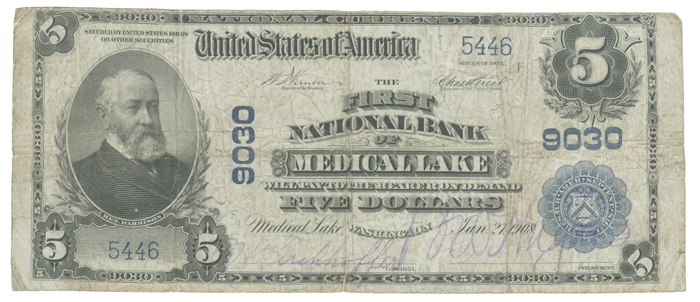 First National Bank of Medical Lake National Currency dollar bill