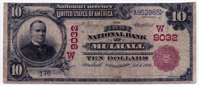 First National Bank of Mulhall National Currency dollar bill