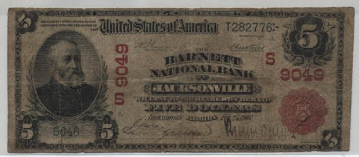 Barnett National Bank of Jacksonville National Currency dollar bill