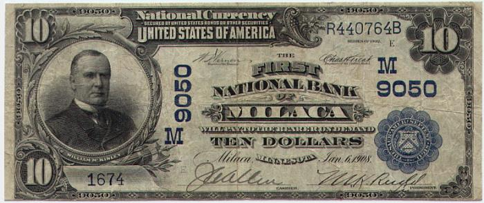 First National Bank, Milaca National Currency dollar bill