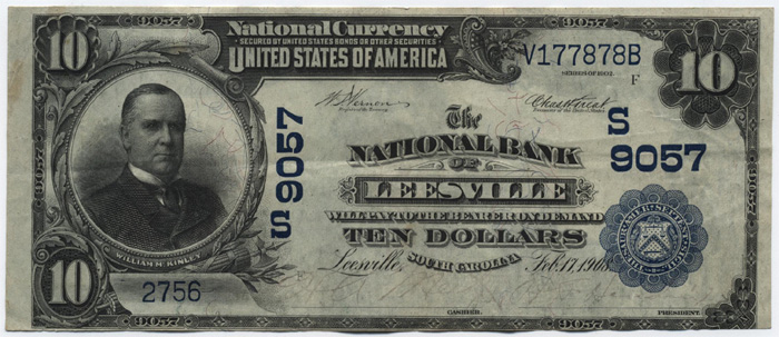 National Bank of Leesville National Currency dollar bill