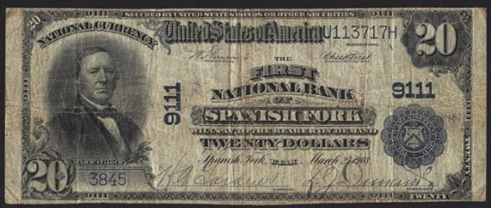 First National Bank of Spanish Fork National Currency dollar bill