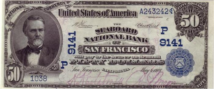 Seaboard National Bank of San Francisco National Currency dollar bill