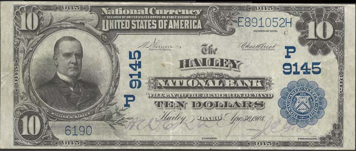 Hailey National Bank National Currency dollar bill