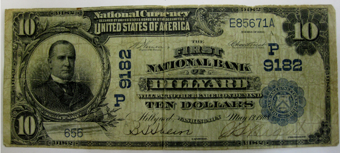 First National Bank of Hillyard, Spokane National Currency dollar bill