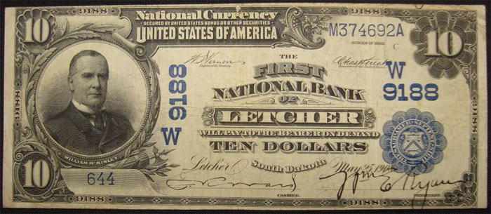 First National Bank of Letcher National Currency dollar bill