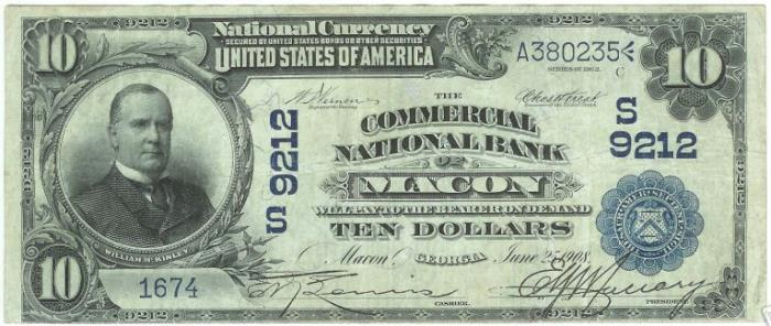 Commercial National Bank of Macon National Currency dollar bill
