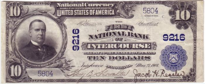 First National Bank of Intercourse (9216) Ten Dollar Bill Series 1902 Blue Seal