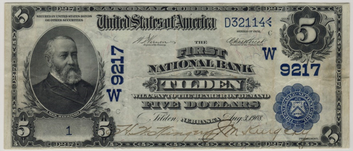 First National Bank of Tilden National Currency dollar bill