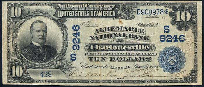 Albemarle National Bank of Charlottesville National Currency dollar bill
