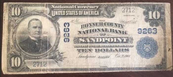 Bonner County National Bank of Sandpoint National Currency dollar bill