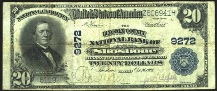Lincoln County National Bank of Shoshone National Currency dollar bill