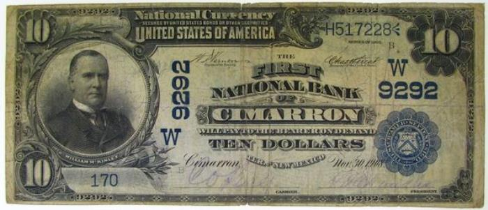 First National Bank of Cimarron National Currency dollar bill