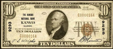 Farmers National Bank of Kansas National Currency dollar bill