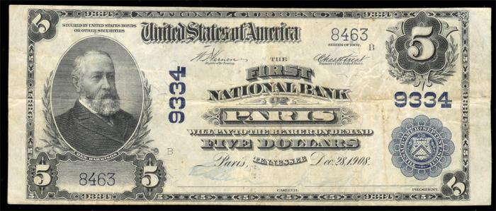 First National Bank of Paris National Currency dollar bill