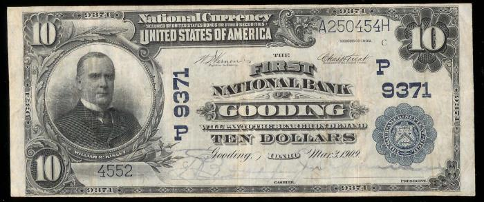 First National Bank of Gooding National Currency dollar bill