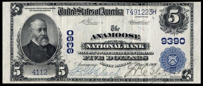 Anamoose National Bank, Anamoose National Currency dollar bill