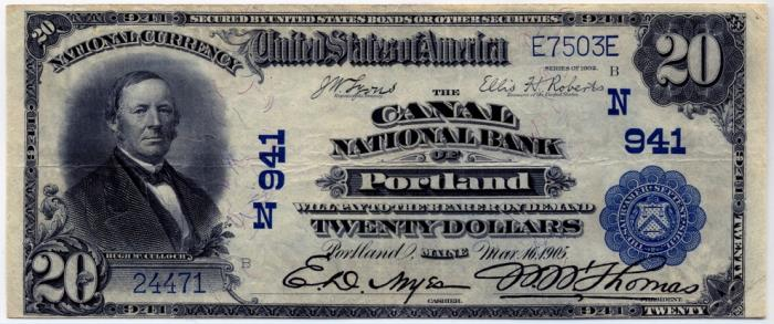 Canal National Bank of Portland National Currency dollar bill