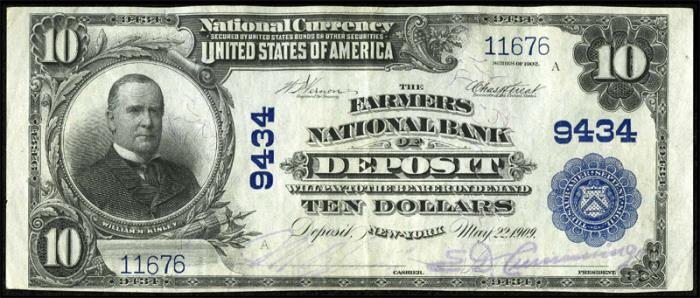 Farmers National Bank of Deposit National Currency dollar bill