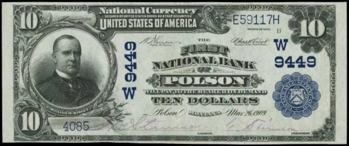 First National Bank of Polson National Currency dollar bill