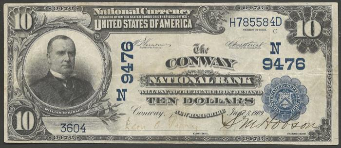 Conway National Bank, Conway National Currency Bank Note Dollar Bill
