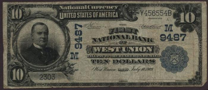 First National Bank of West Union (9487) Ten Dollar Bill Series 1902 Blue Seal