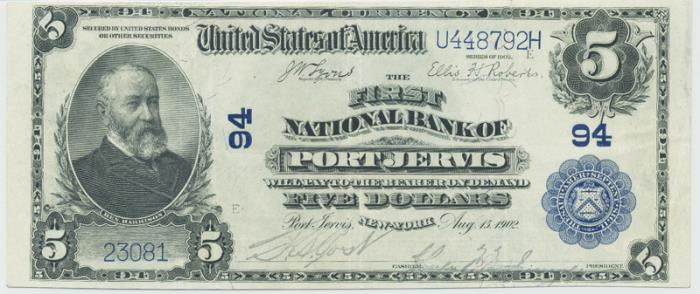 First National Bank of Port Jervis (94) Five Dollar Bill Series 1902 Blue Seal