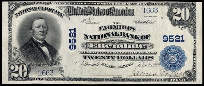 Farmers National Bank of Ellendale (9521) Twenty Dollar Bill Series 1902 Blue Seal