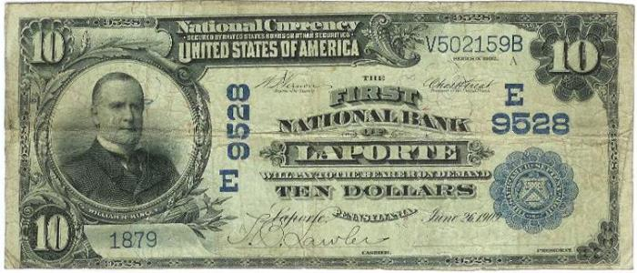 First National Bank of Laporte National Currency Bank Note Dollar Bill