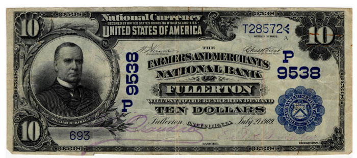 Farmers and Merchants National Bank of Fullerton National Currency dollar bill