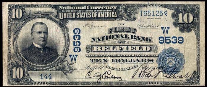 First National Bank, Belfield National Currency dollar bill