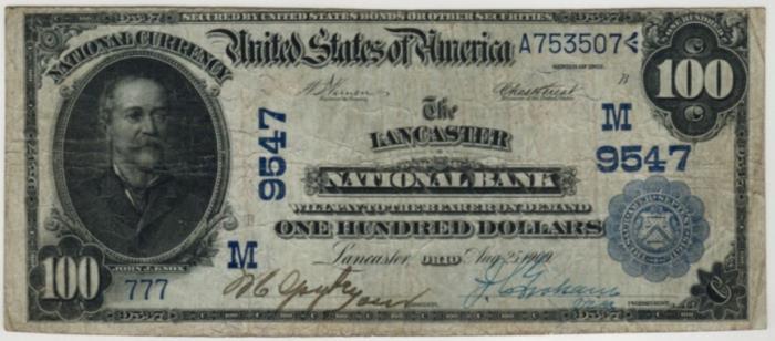 Lancaster National Bank, Lancaster National Currency dollar bill
