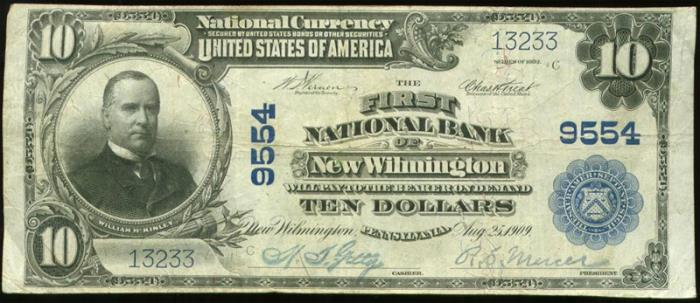 First National Bank of New Wilmington National Currency dollar bill
