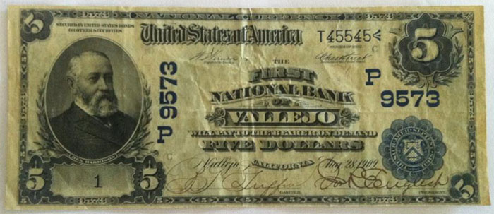 First National Bank of Vallejo National Currency dollar bill