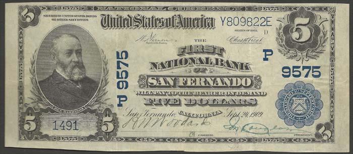 First National Bank of San Fernando (9575) Five Dollar Bill Series 1902 Blue Seal