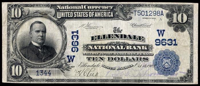 Ellendale National Bank, Ellendale National Currency dollar bill
