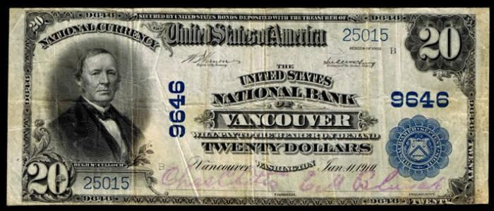 United States National Bank of Vancouver National Currency dollar bill