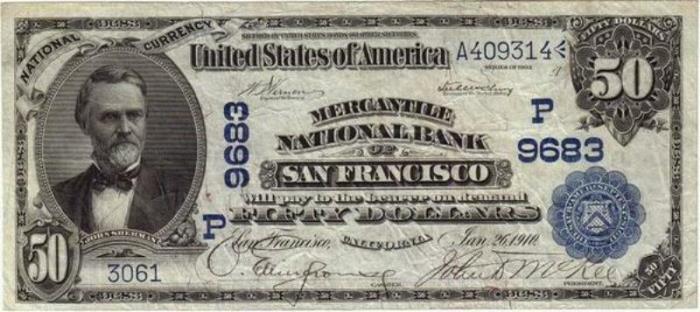 Mercantile National Bank of San Francisco National Currency dollar bill