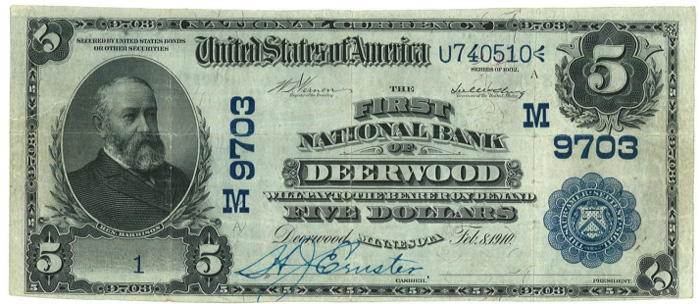 First National Bank, Deerwood National Currency dollar bill