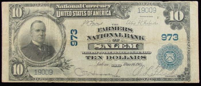 Farmers National Bank of Salem National Currency dollar bill