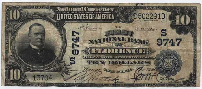 First National Bank of Florence National Currency dollar bill