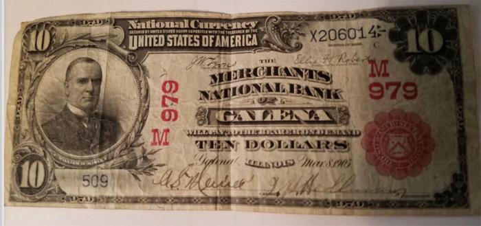 Merchants National Bank of Galena National Currency dollar bill