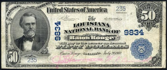 Louisiana National Bank of Baton Rouge National Currency dollar bill