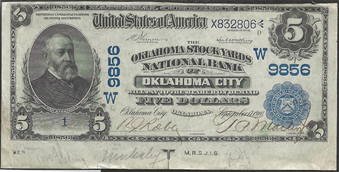 Oklahoma Stock Yards National Bank of Oklahoma City National Currency dollar bill