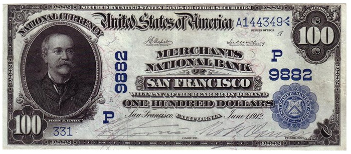 Western Metropolis National Bank of San Francisco National Currency dollar bill