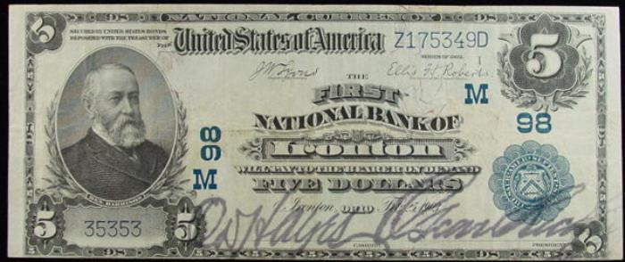 First National Bank of Ironton (98) Five Dollar Bill Series 1902 Blue Seal