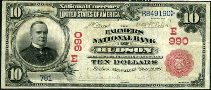 Farmers National Bank of Hudson National Currency dollar bill