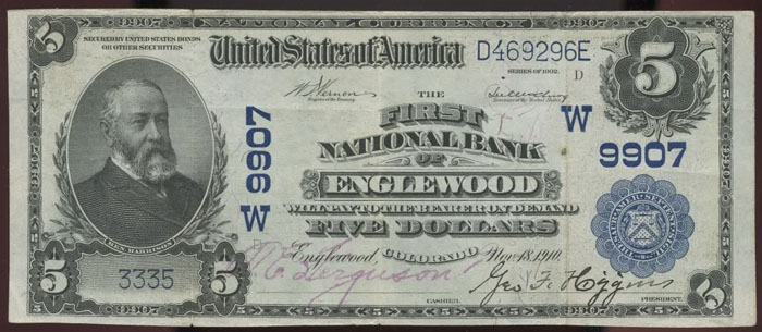First National Bank of Englewood National Currency dollar bill