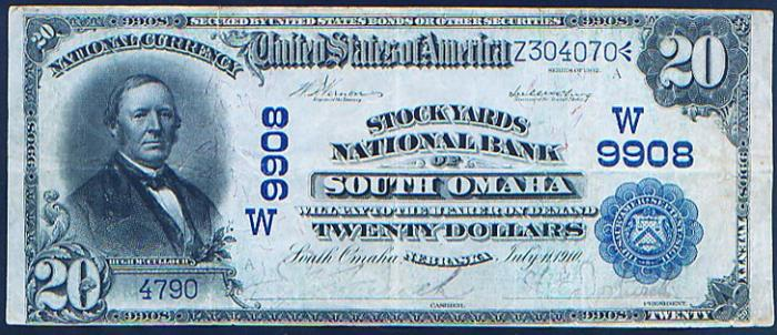 Stock Yards National Bank of South Omaha National Currency dollar bill